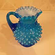 Vintage Fenton Hobnail Sky Blue Pitcher Vase