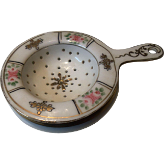 Vintage Porcelain Tea Strainer with Underplate Bavaria
