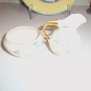 Vintage Belleek Creamer and Sugar Set SHAMROCK IRELAND