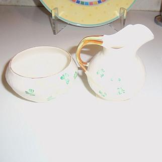 Vintage Belleek Creamer and Sugar Set SHAMROCK IRELAND