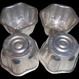 Vintage Nutbrown Metal Baking or Gelatin Cup Molds Tins ENGLAND