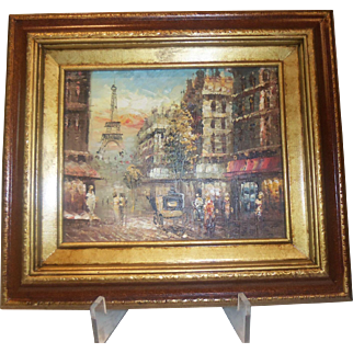 Grouping  of 3 Parisian French Oil on Canvas Paintings Unknown Artist Street Scene, Sidewalk Cafe, River Scene