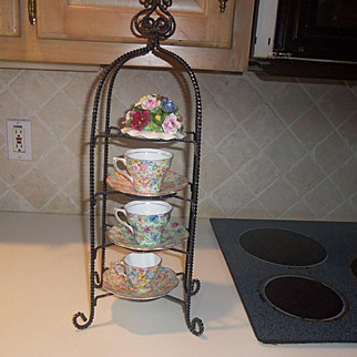Vintage Mini Teapot and Cup & Saucer Metal Tower Holder
