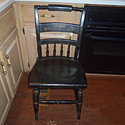 Vintage Nichols & Stone Black Harvest Hitchcock Style Stenciled Pillow Back Dining Side Chair