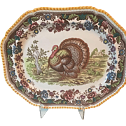Vintage Spode Large Gadroon Multi Colored Turkey Platter ENGLAND Transferware