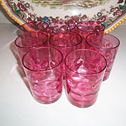Vintage 1930's Hand Blown Cranberry Coin Dot Glass Set of Eight Tumbler Cup  Art Glass
