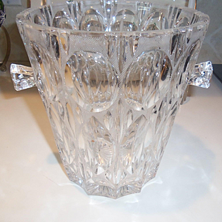 Mid Century Large Esquisite Crystal Ice Bucket Trifle Bowl or Egg Nog Bowl