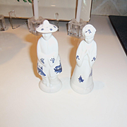 Small Asian Mid Century Salt and Pepper Set Blue and White