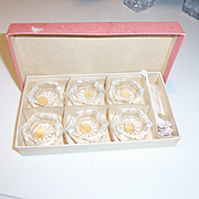 Vintage Bohemian Glass Crystal Salt Set with Matching Spoons  Mid Century