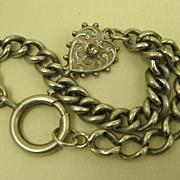 French Antique Art Nouveau Silver Heart Bracelet ~ L' Argent Francais ~ c1900