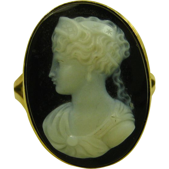 Antique Victorian Mourning Oval Hardstone Onyx Cameo 14ct