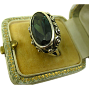 Art Deco Hand Crafted Spinel Silver Ring ~ 1940s