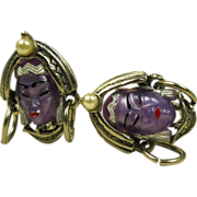 Vintage Selro Asian Princess Earrings ~ Rare Amethyst Color