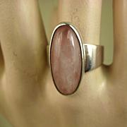 Fine Niels Erik From Denmark Modernist Sterling Rose Quartz Ring ~ c1960s