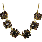 Vintage Stunning Garnet Gold Filled Necklace ~ c1950