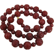 Fine Art Deco Cherry Amber Bakelite Hand Carved Rose Bead Necklace.