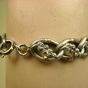 Superb French Silver Rose Vermeil Bracelet ~ c1880