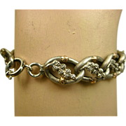 Superb French Silver Rose Vermeil Bracelet ~ c1880