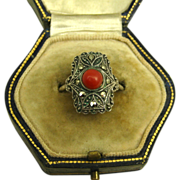 Art Deco Coral Marcasite 835 Silver Ring  ~ 1925 - 1930