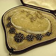 Fine Art Nouveau Garnet Silver Vermeil Necklace ~ c1920s
