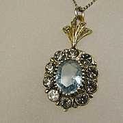 Fine Art Deco Aquamarine Silver Vermeil Pendant and Chain ~ c1920s