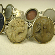 Antique Victorian Silver Superbly Carved Lava Cameo Bracelet ~ c1860s