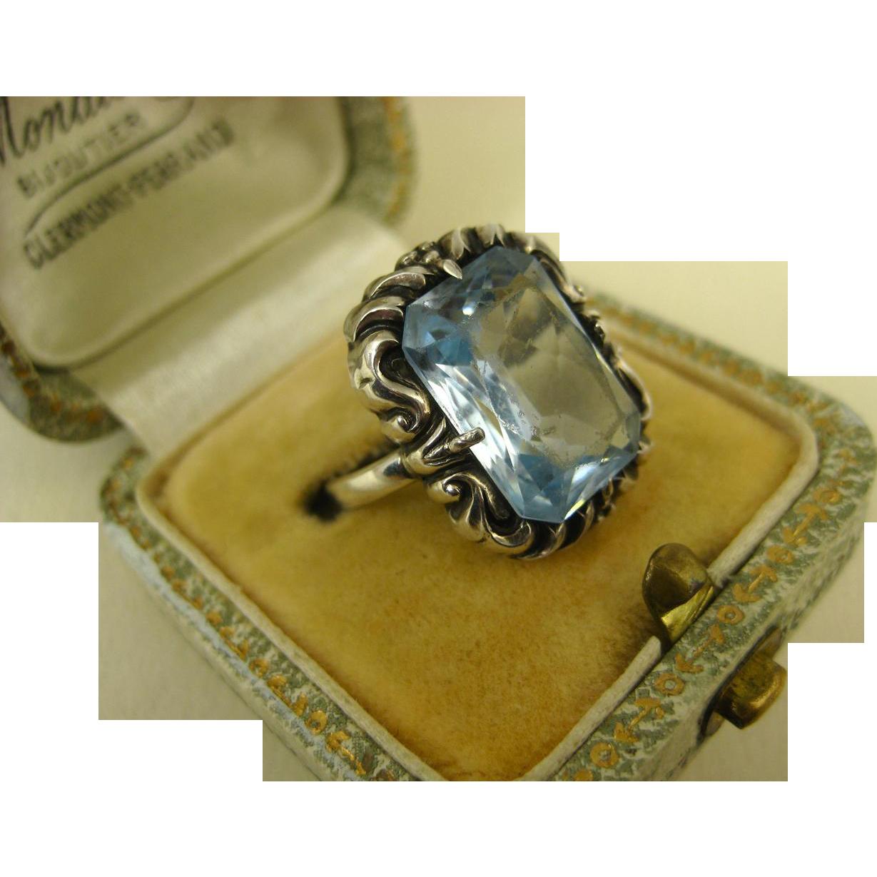 jugendstil art deco blue gemstone 835 silver ring. Black Bedroom Furniture Sets. Home Design Ideas
