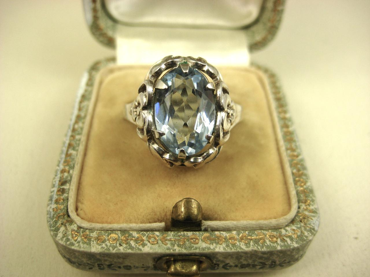 art deco jugendstil blue gemstone 835 silver ring c1940. Black Bedroom Furniture Sets. Home Design Ideas