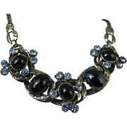 Rare Selro Vintage Unsigned Blue Rhinestone Black Cabochon Necklace ~ Stunning Book-piece