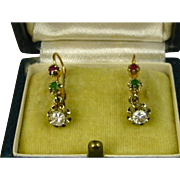 Splendid Suffragette Early Art Deco 18 Carat Gold French Dormeuse Ruby Emerald Sapphire Earrings ~ c1920
