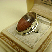 Vintage Denmark Niels Erik From Modernist Sterling Silver Jasper Ring ~ c1960