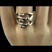Anna Greta Eker Norway Sterling Silver Modernist Ring ~ c1960s