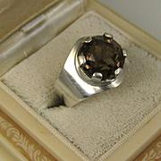 Vintage Kultaseppa Salovaara Ky Modernist Smokey Topaz Silver Ring ~ 1960s ~ Finland