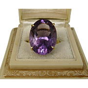 Superb Estate Solitaire 15.5 Carat Amethyst 18k Gold Ring ~ Stunning