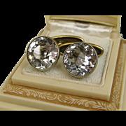 Vintage Russian Silver Rock Crystal Cufflinks ~ c1950s