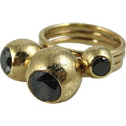 Stunning Black Diamond 14k Solid Gold Modernist Three Stone Heavy Designer Ring ~ Superb