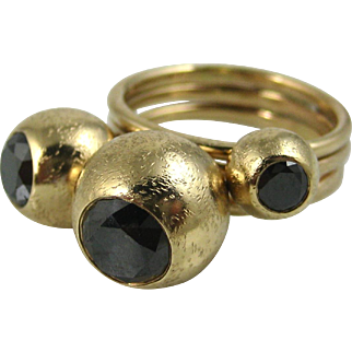 Stunning Black Diamond 14k Solid Gold Modernist Three Stone Heavy Designer Ring ~ Superb