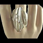 Rare Lapponia Vintage Sterling 'Erosion' Ring Björn Weckström Finland ~ 1975