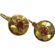 Antique French Napoleon III Dormeuses Earrings 18 k Gold, Pearl Garnet ~ c1860