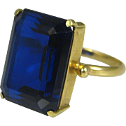 Superb Art Deco 18k Gold 8 Carat Sapphire Solitaire Ring ~ c1920