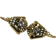 Fine Art Deco 18k Gold and Diamond Dormeuses Earrings ~ c1930