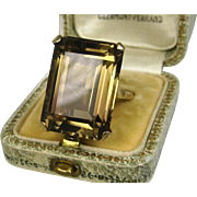 Stunning Huge Estate 18 Carat Smoky Topaz Solitaire Gold Ring ~ Superb