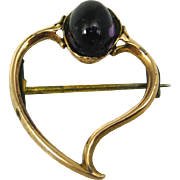 Antique Georgian English 15K Gold Amethyst Witch's Heart Pin Brooch ~ c1780