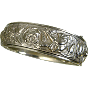 Antique Art Nouveau Ornate Silver Repoussé Bracelet ~ c1910