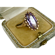 Superb Antique Edwardian 5.5 Carat Amethyst 9k Gold Ring ~ c1910