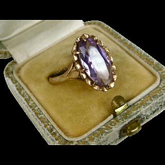 Superb Antique Edwardian 5.5 Carat Amethyst 9k Gold Ring ~ c1910