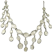 Fine Art Deco Sterling Silver Chandelier Moonstone Necklace ~ Superb