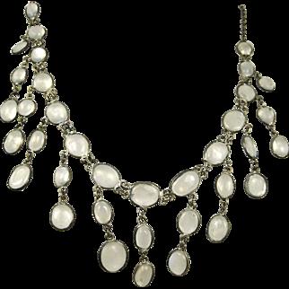 Fine Art Deco Sterling Silver Chandelier Moonstone Necklace ~ Superb