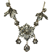 Fine Georgian Style Silver Diamond Gold Necklace ~ Superb