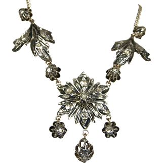Fine Georgian Style Silver Diamond Gold Necklace ~ Superb